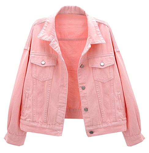 CYSTYLE Damen Jeansjacke Übergangsjacke Kurz Jacke Denim Casual in klassischer Form (Rosa, XS)