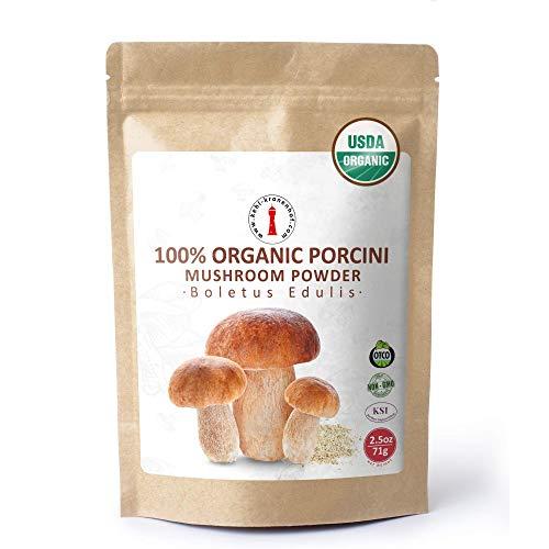 Organic Dried Porcini Mushroom Powder - 2.5 oz USDA Certified - Kosher - Vegan - Vegetarian - Non-GMO - Gluten Free - 2.5 oz