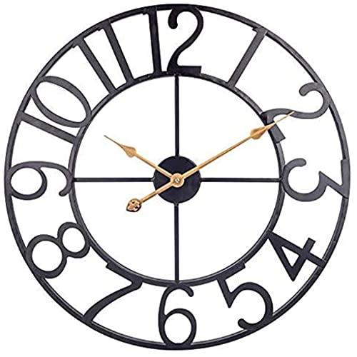 DXMGZ Reloj de Pared de Metal Grande, Reloj de Pared Industrial Vintage de 24 Pulgadas, Silencioso Reloj de Pared Interior Operado por Batería para Sala de Estar, Comedor, Hogar, Granja