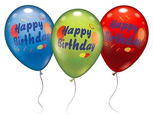 Karaloon 30021 Latexballon, 6 Luftballons Happy Birthday Farblich Gemischt, 1-Pack