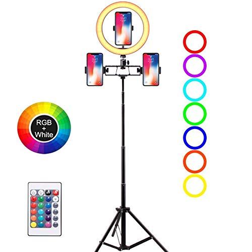LED-ringlichtset 26 cm / 10,2 inch met statief en telefoonhouder, dimbaar bureau make-up ringlicht voor YouTube-video, livestreaming, selfie en fotografie