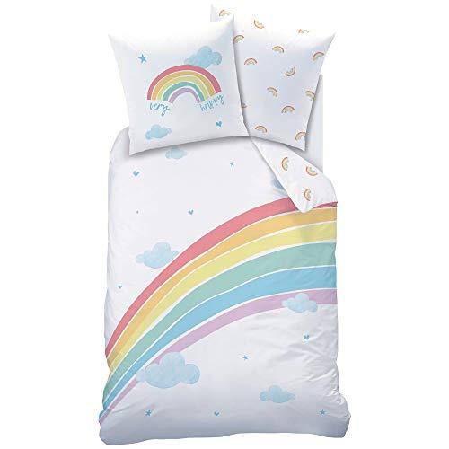 REGENBOGEN Bettwäsche Set · Mädchen-Bettwäsche · Kinderbettwäsche · Very Happy Rainbow · Wolken Sterne Herzen - Kissenbezug 80x80 + Bettbezug 135x200 cm - 100% Baumwolle
