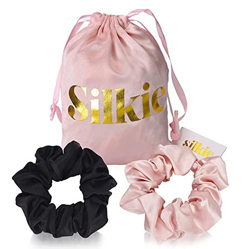 SILKIE x2 Set 100% Pura Seda de Morera Mulberry Rosa Negra Scrunchies de gran tamaño Corbatas para el cabello Elásticos Cuidado del cabello