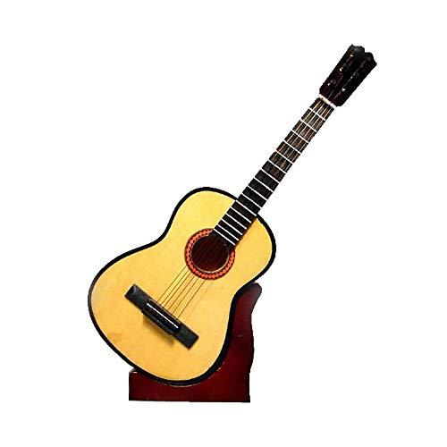 2503-1135-Guitarra española decorativa miniatura en madera, 16 centimetros. Con estuche y soporte