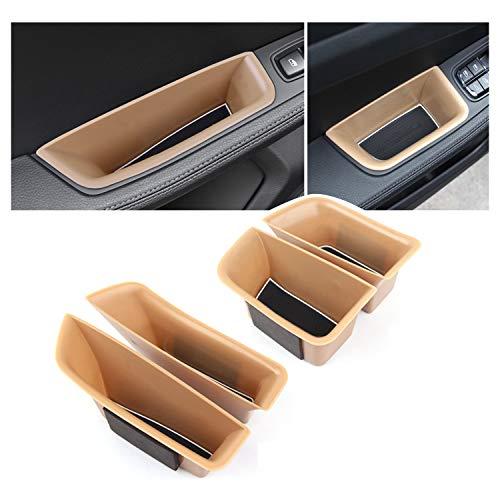 RUIYA 4 Packs Car Door Side Storage Box with 2015+ Porsche Macan Accessories,Insert ABS Black Materials Tray Secondary Storage Box (Beige)