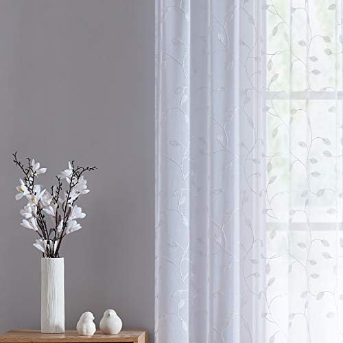 Fragrantex Home Curtain Embroidered Leaf White Sheer Curtains for Living Room 84 Inch Long See Through Voile Botanical Curtains Window Draperies for Bedroom Rod Pocket 2 Panels,W38xL84