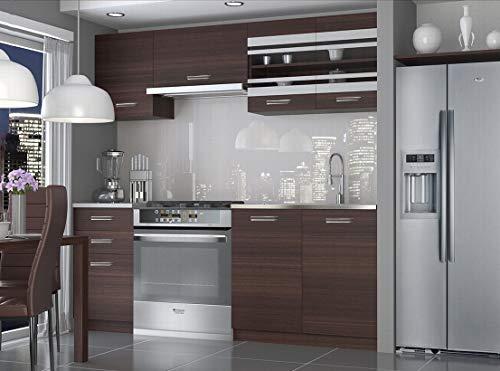 Muebles Cocina Completa, 180 cms, Modulos de cocinas ref-02 (Castaño)