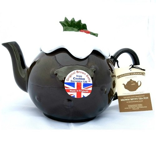 Hand Made 6 Cup Brown Betty Christmas Pudding Teapot in Rockingham Brown