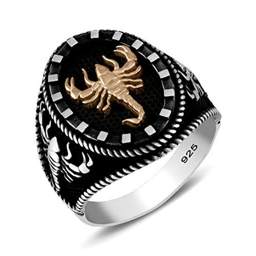 chimoda Mens Silver Ring in 925 Sterling Turkish Handmade Jewelry Men's Rings Scorpion Design silver , black