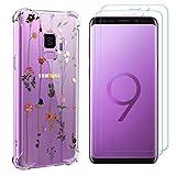 ZhuoFan Protector de Pantalla Funda para Samsung Galaxy S9 (5.8''),2 Pcs HD Cristal Vidrio Templado +1 Pc Suave Silicona Transparente TPU Carcasa Anti-Choque Anti-arañazos Caso para Samsung S9,Flor