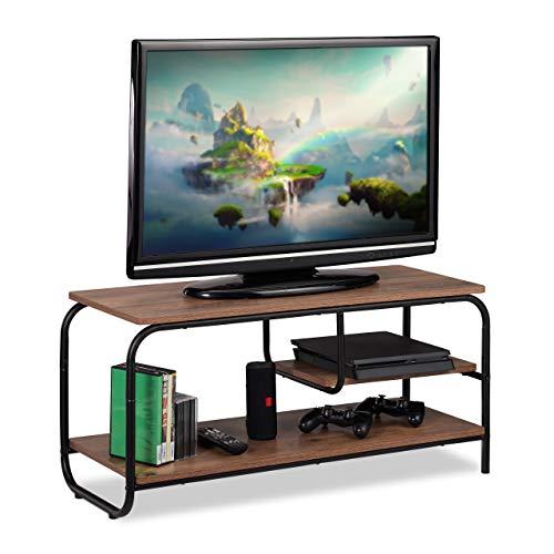 Relaxdays TV Board, Industrie Design, Receiverablage, Stauraum CDs & DVDs, Fernsehtisch HxBxT 43x90x35 cm, braun/schwarz, Spanplatte, 43 x 90 x 35 cm