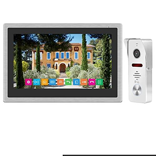 ZNBJJWCP WiFi intercomunicador video Timbre 10 pulgadas IP inalámbrico video puerta teléfono 1080 p timbre cámara con detección