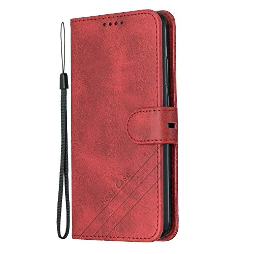 Hülle für Huawei P20 Lite/nova 3e Hülle Handyhülle [Standfunktion] [Kartenfach] [Magnetverschluss] Tasche Etui Schutzhülle lederhülle klapphülle für Huawei P20Lite - JEHX010397 Rot