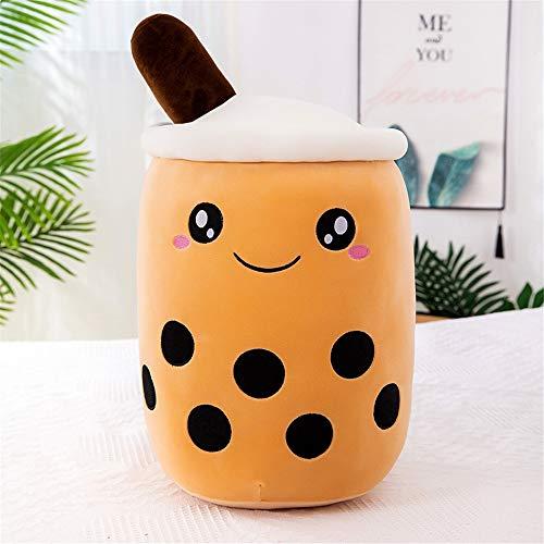 KOWAKA Almohada de Peluche Boba, cojín de Peluche con Forma de Taza de té con Forma de Burbuja Creativa (Brown Cute,Small 9.8
