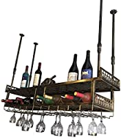 ワインラックワインボトルラック調節可能なバーハンギング2層、金属工業用ワインホルダーボトルホルダーワイングラスハンガー、真鍮/黒、バーレストラン工業用装飾Dfvv、黒、180 32cm Beautiful Home