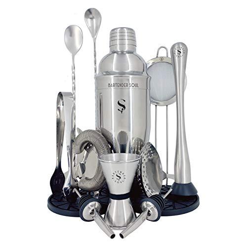 Shaker - 750 ml e 0,8 mm - più 12 pezzi per cocktail professionali - 3 filtri di densità, jigger, cucchiai, pestello, versatori, pinze per ingredienti, sottobicchieri in silicone e ricette