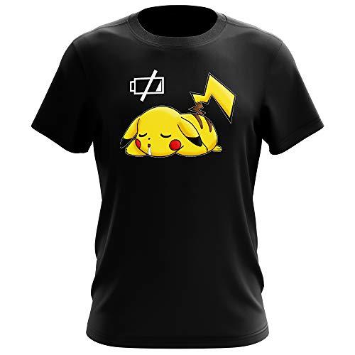 T-Shirt Manga - parodie Pikachu de Pokémon - Batterie à plat ! - T-shirt Homme Noir - Haute Qualité (586) - Large