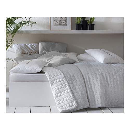 JEMIDI Tagesdecke Bett und Sofaüberwurf gesteppt 220cm x 240cm Überwurf Tagesdecke Sofa Couch Decke Husse Überwürfe Steppdecke XL XXL (Variante 1 Grau/Weiß)