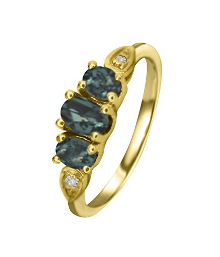 Natural Color Change Alexandrite Diamond Ring in 14K Yellow Gold