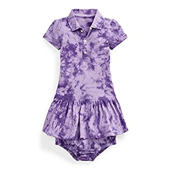 Ralph Lauren Baby Girls Tie Dye Dress & Bloomer 2 Piece Set  Rugby Purple 3003  24 Months