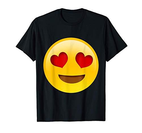 Emoji Herz Augen Party Herz Gesicht Smiley Netter großer T-Shirt