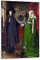 油絵ポスターポスター装飾画キャンバスポスター40x60cm-アルノルフィーニ夫妻ヤンファンエイク-16x24inch(40x60cm)_Frame-style1