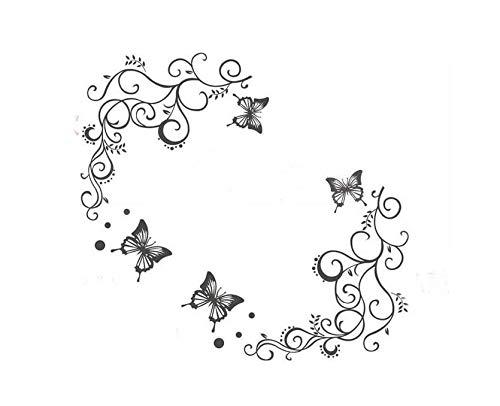 HALLOBO® XXL Wandtattoo Blumenranke Schmetterlinge Wandaufkleber Wandsticicker Wohnzimmer Schlafzimmer Deko