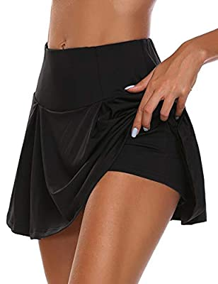 HDLUSIA Women's Active Skort Athletic Stretchy Pleated Tennis Skirt for Running Golf Workout Black