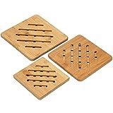 3 Piezas Salvamanteles de Bambú, Almohadillas de Bambú Resistentes al...
