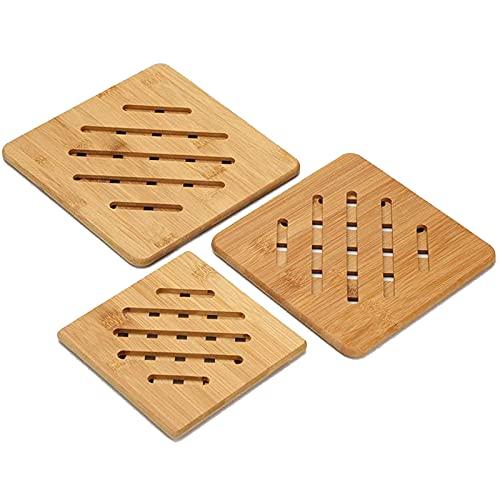 3 Pièces Dessous de Plat En Bambou, Dessous de Plateaux En Bambou Résistant à la Chaleur, Ensemble de Dessous de Verre en Bambou, Pour la Protection des Comptoirs de Table, Décoration de la Maison