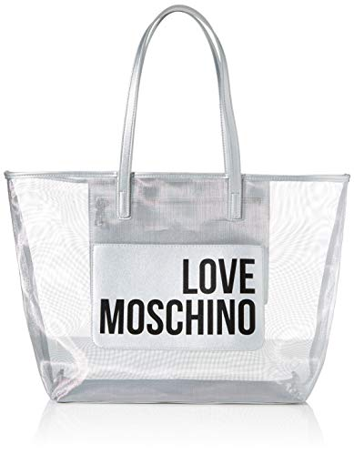 Love Moschino Jc4245pp0a, Bolso tipo tote para Mujer, Plateado (Silver Fabric), 48x32x12 Centimeters (W x H x L)