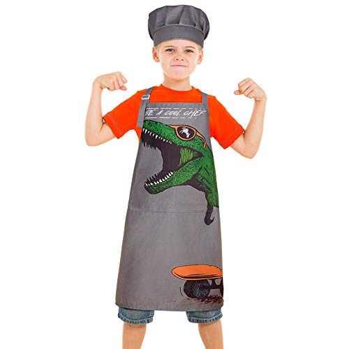 MHJY Kids Apron Chef Hat Set for Boys Dinosaur Aprons with Adjustable Strap 2 Pockets,Child Apron for Cooking Baking,Gray,Small (3-7 Years)