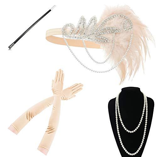 Yigoo Vestido de estilo charlestn aos 20, accesorios para mujer de los aos 20, charlestn, disfraz de Gatsby, accesorio para el pelo, cadena de perlas, guantes, color dorado