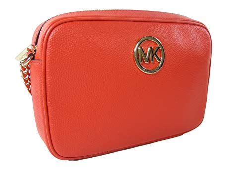 "Genuine leather mandarin orange exterior with the Michael Kors logo in gold. Measurements: Approximately 9.5"" W x 6.5"" H 2"" D Full description below."