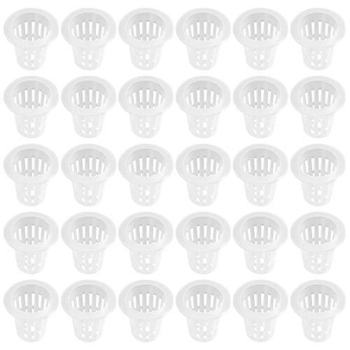 Yardwe - Juego de 50 macetas de plástico hidropónicos de 2,8 pulgadas para suministros hidropónicos (blanco)