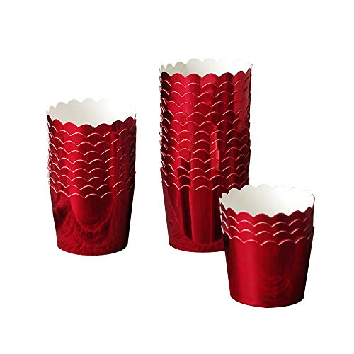 50 Pcs Paper Cupcake Liners Baking Cups, Holiday/Parties/Wedding/Anniversary(Red)