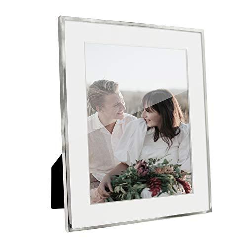 Afuly Silber Bilderrahmen 20x25 oder 15x20 mit Passepartout Metall Portraitrahmen Tabelle oder Wand