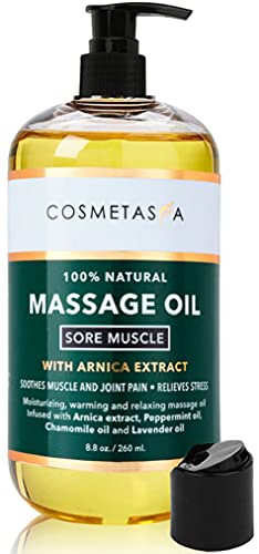 Cosmetasa Sore Muscle Massage Oil- 8.8 oz Soothes Muscle and Joint Pain with Arnica Extract, Peppermint, Chamomile, and Lavender Oil