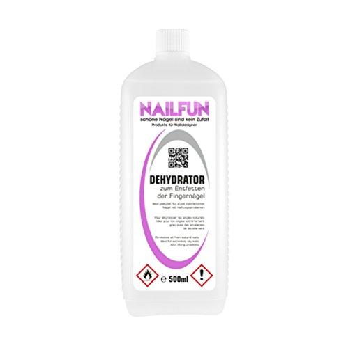 NAILFUN DEHYDRATOR [500ml] - Entfetter und Entfeuchter für stark nachfettende Nägel mit Haftungsproblemen - für die Nagelmodellage