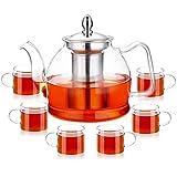 pluiesoleil 1200ml teiera in vetro trasparente,teiera in vetro borosilicato alto con filtro e 6 tazze da tè(80 ml/tazza) molto adatta per l'uso domestico