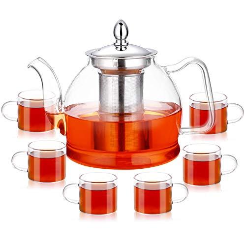 PluieSoleil Théière en verre avec infuseur pour thé en vrac, Théière en verre résistant à la chaleur avec passoire pour thé floral, Théière avec 6 tasses (80 ml/tasse)