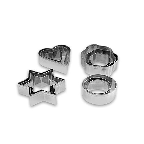 Cookie Cutter 4 Shape Set Aluminum Silver by Topenca Supplies