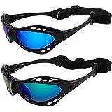 Set of 2 Hurricane Category-4 Polarized Jet Ski Goggles Padded Frames Blue & Green Mirror ReflecTech Lenses