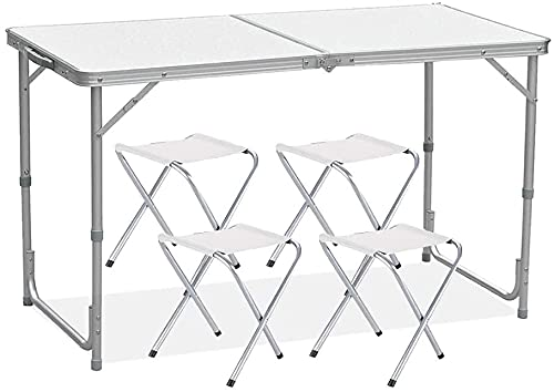 Rainberg Camping Table Set with 4 Chair, Outdoor Indoor Use for BBQ Picnic Garden Parties Set In White Foldable Portable Design 4FT Size