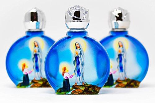 Catholic Gift Shop Ltd 3 Botellas ovaladas de Cristal Azul de Lourdes Holy Water, Lourdes Water Taken de The Grotto en Francia y Blessed por un Sacerdote en Lourdes & Lourdes Tarjeta de oración