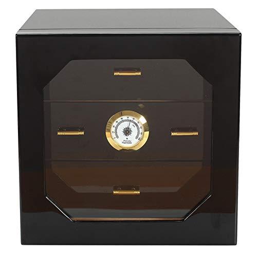 Tisch-Zigarren-Luftbefeuchter mit drei Etagen, für Zigarrenschrank, Hygrometer und Luftbefeuchter, für 100 Zigarren, Schwarz