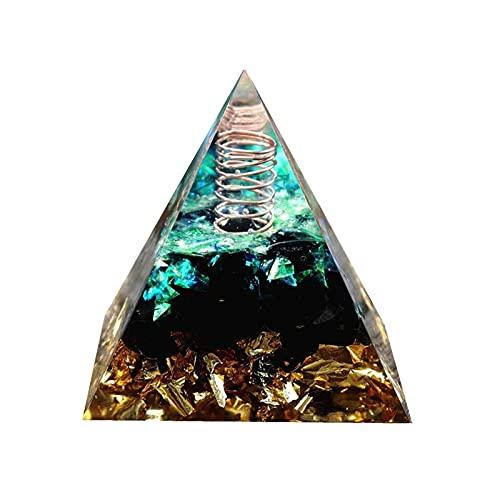 C.W.USJ Cristal de piramides Cuarzo Natural Cuarzo de Cuarzo Blanco Claro de Cristal Transparente con una pirámide de Cuarzo obsidiana Orgonita