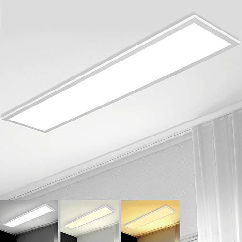 Dimmbar LED Panel Deckenleuchte 120x30 cm mit Fernbedienung, 40W Super Deckenpanel Lampe mit Direkter Starker Leuchtkraft Licht, Warm Natur Kalt Weiß Werkstattlampe Bürolampe Garage Wohnzimmer Lampe