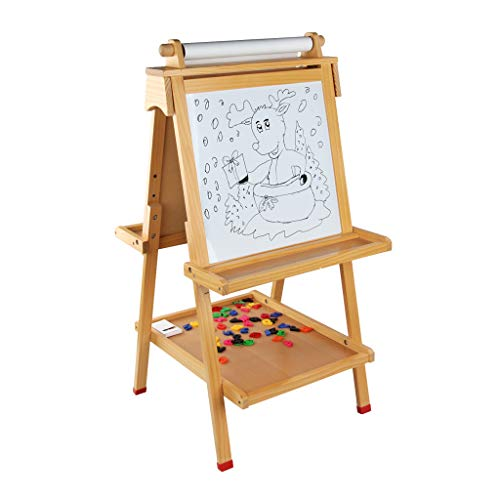 Renzhe Kids Easel Double-Sided Magnetic Whiteboard & Chalkboard Multiple-Use Easel, Paint Cups Best Gift for Kids Boys Girls