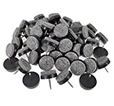 40pcs Furniture Felt Pad Round Heavy Duty Nail-on Slider Glide Pad Floor Protector for Wooden Furniture Chair Tables Leg Feet(Dia 0.7'/18mm,Black)